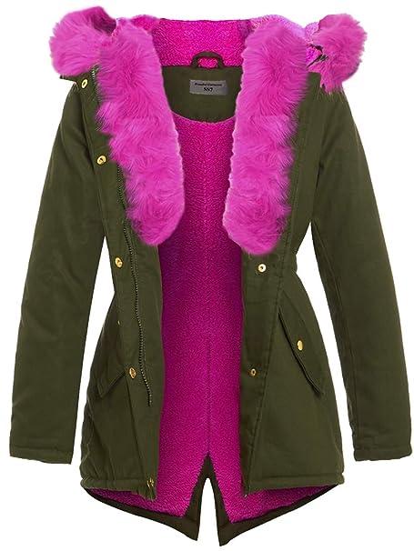 new style 6b597 61020 SS7 - Cappotto - Parka - ragazza Verde Khaki Pink: Amazon.it ...