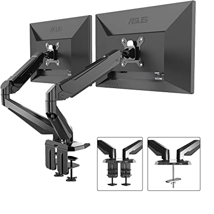 Dual Monitor Stand   FEZIBO Adjustable Full Motion Monitor Mount Monitor  Arm, C Clamp/