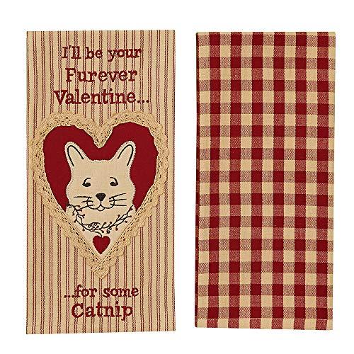 Park Designs Pet Love Embroidered Appliqued Dishtowel Set of Two (Catnip)