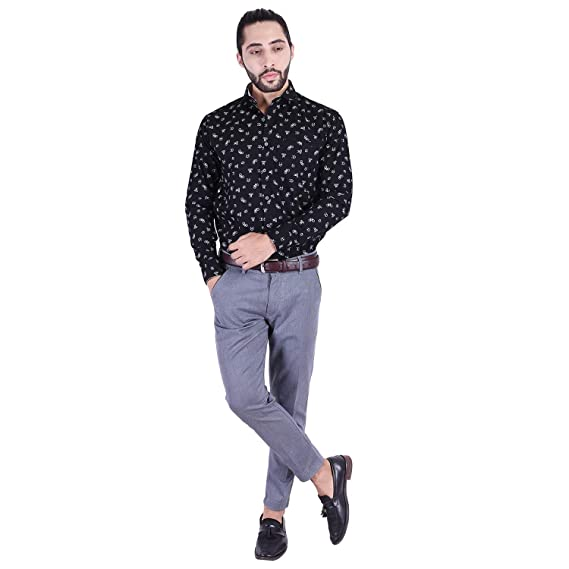 361a9aa4 Mountain Colours Men's Cotton Casual Printed Shirt Full Sleeve slim Fit  Plain Casual Shirt for Men ...