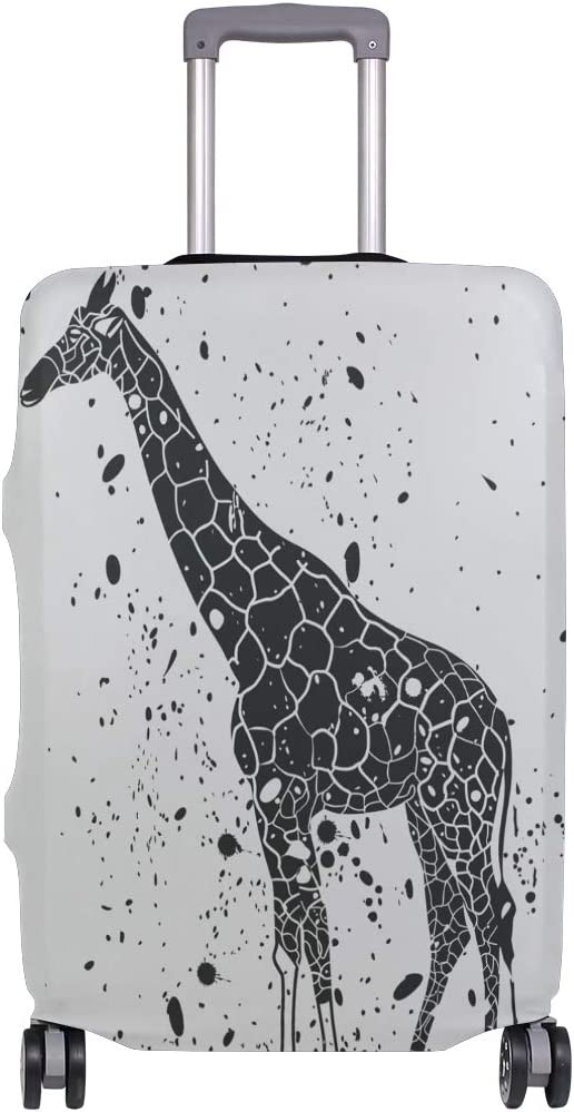 Travel Luggage Cover Black Cartoon Giraffe Suitcase Protector Baggage Case Dustproof Stretchy Fits 26-28 Inch