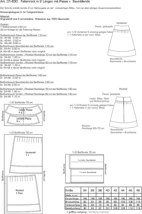 Pattern Company Schnittmuster Faltenrock in 2 Längen mit Passe und ...