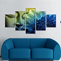 Blue Buddha Paintings 5 Pieces Canvas Art Wall Decor Prints Artwork for Living Room Framed,Small Size 100cmX55cm,Ready…