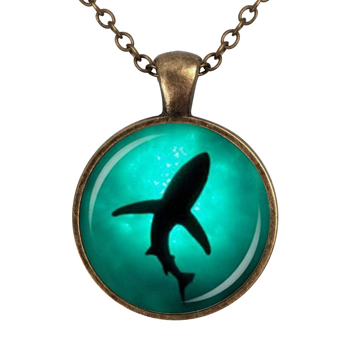 Family Decor Shark Sea Marine Charm Trendy Animal Pendant Necklace Cabochon Glass Vintage Bronze Chain Necklace Jewelry Handmade