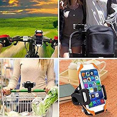 Easily Adjustable Scratch Proof Heavy Duty Silicone Lined Clamps YBM Universal Bike and Motorcycle Cell Phone Holder Mount for Handlebars Fits Any Bicycle Models and Phone Size
