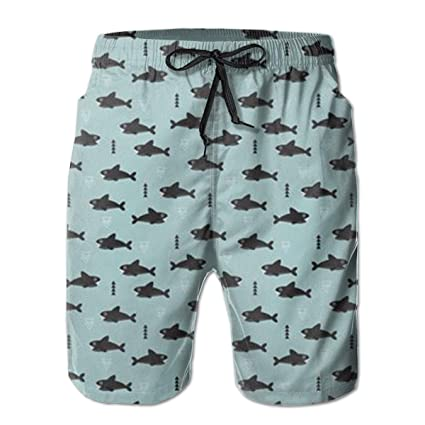 bb9f0401af5f5 MaoYTUI Cool Blue Geometric Baby Shark Mens Swim Trunks Boys Quick Dry Bathing  Suits Drawstring Waist