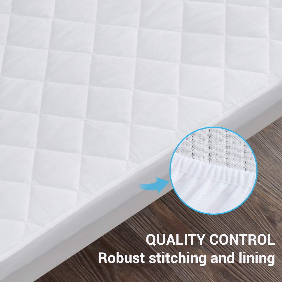 GRT Waterproof Crib Mattress Protector White Quilted Fitted Baby Mattress Cover Extra Soft Breathable Toddler Mattress Pad 52x28-9 Deep