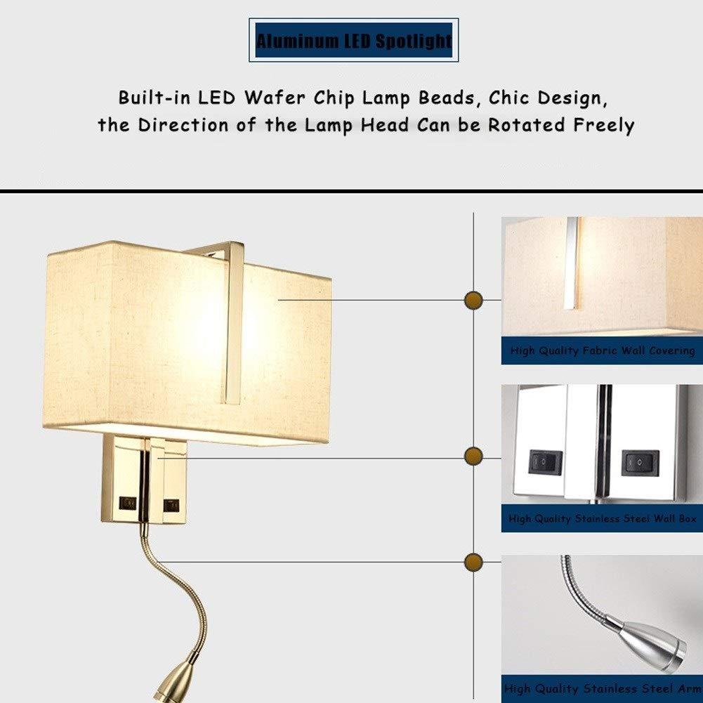 Lampes Murales Moderne Chevet E27 Tissu Abat-jour Lampe de Mur en Acier Inoxydable avec Flexible LED Liseuses et Interrupteur pour Salon Chambre Mur de la Surface de Lh/ôtel Mont/é Bougeoirs D/écoration