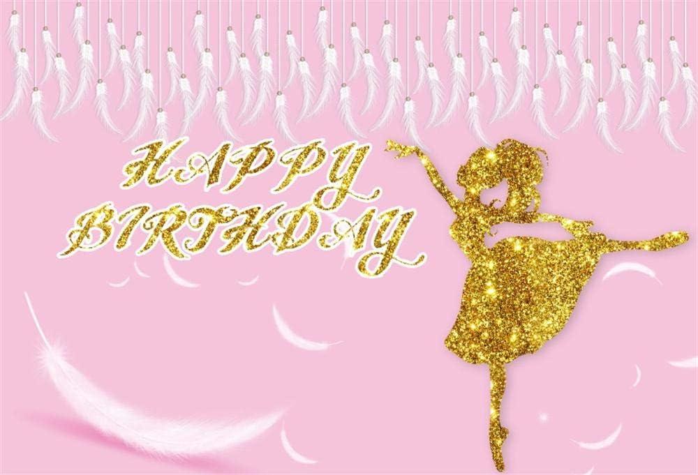 Amazon Com Ofila Girls Birthday Backdrop 7x5ft Ballerina Girls Birthday Photography Background Dance Troupe Birthday Events Banner Feather Ballet Dancer Birthday Portraits Cake Smash Background Studio Props Camera Photo