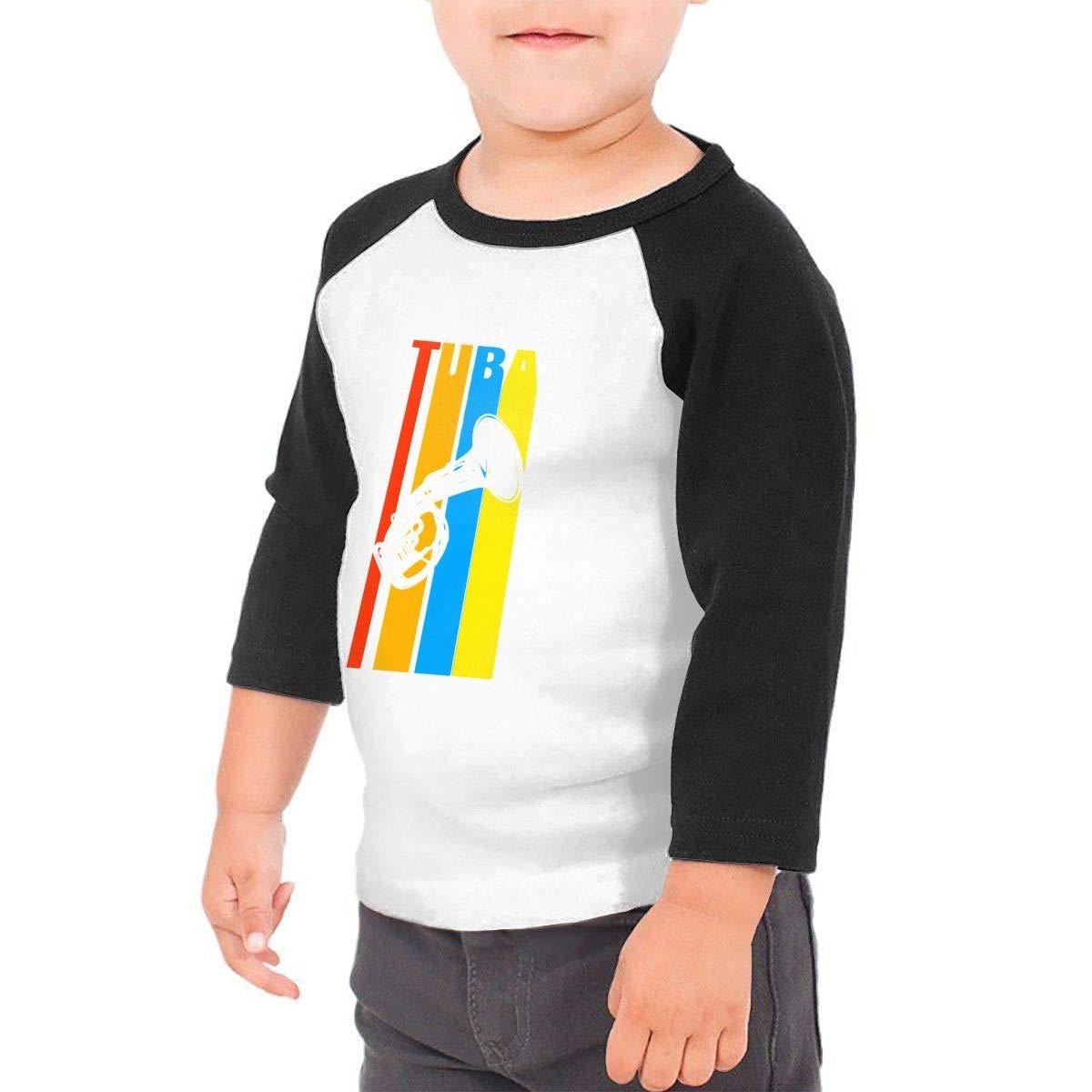 Tuba Classic Vintage Retro Unisex 100/% Cotton Childrens 3//4 Sleeves T-Shirt Top Tees 2T~5//6T