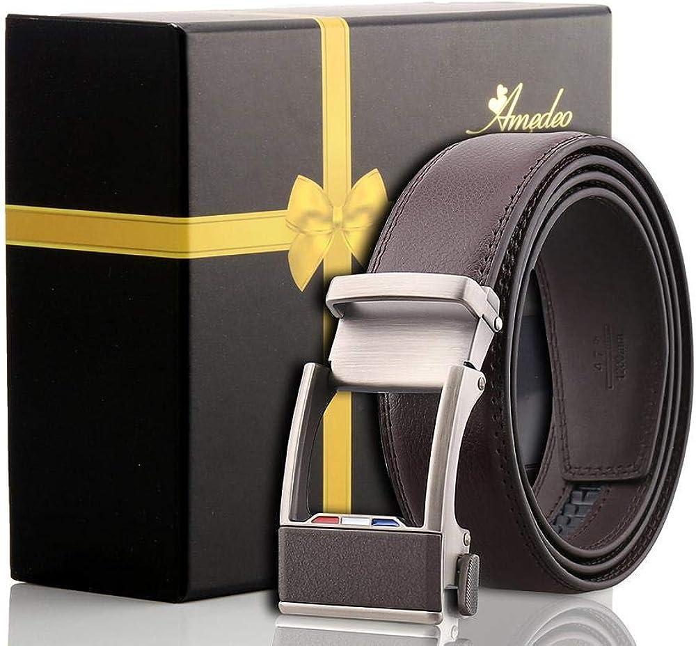 Mens Black Slide Buckle Leather Dress Comfort Belt
