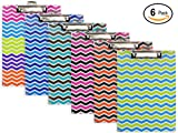 Emraw Paperboard Clipboard Colorful Chevron Patterned Large Standard Size Paperboard Assorted Bright Colored Hardboard Set Low Profile Clip - 6 Pack Wall Mount Clip Boards