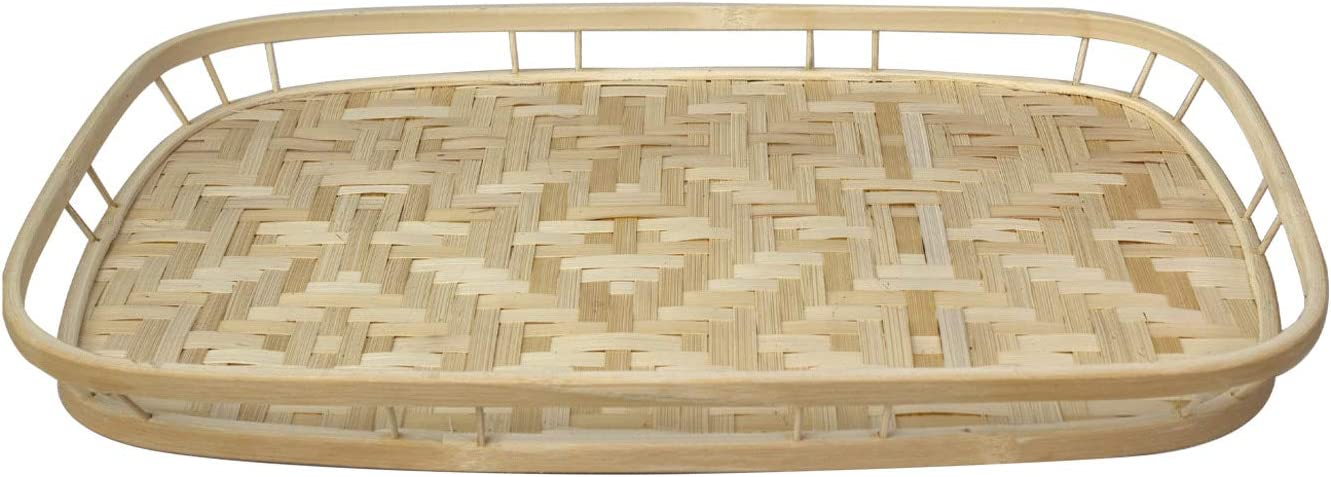 Bamboo Wicker Serving Trays with Handles, Handwoven Serving Platter Trays for Coffee, Breakfast, Bread, Food, Dish and Decorative Trays for Dining Table (1 Pack)