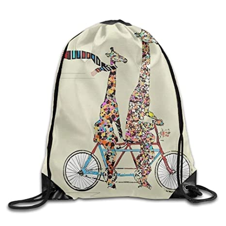 08802ab27afb Amazon.com | jsh2546eggh Giraffes Ride Bike Print Drawstring ...