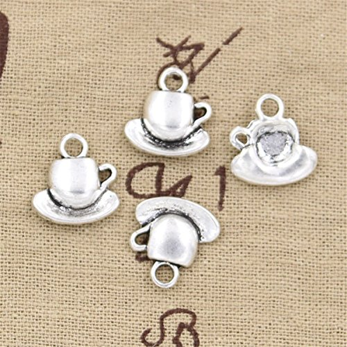 - 30pcs Charms coffee tea cup and saucer 15x14mm Antique Making Vintage Tibetan Silver Zinc Alloy Pendant