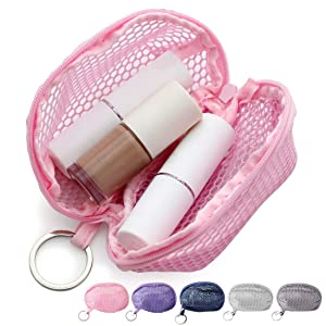 Kalevel Makeup Blender Sponge Case Mesh Sponge Bag Mini Cosmetic Pouch Zippered Toiletry Bag with Keychain for Women Travel (Pink)