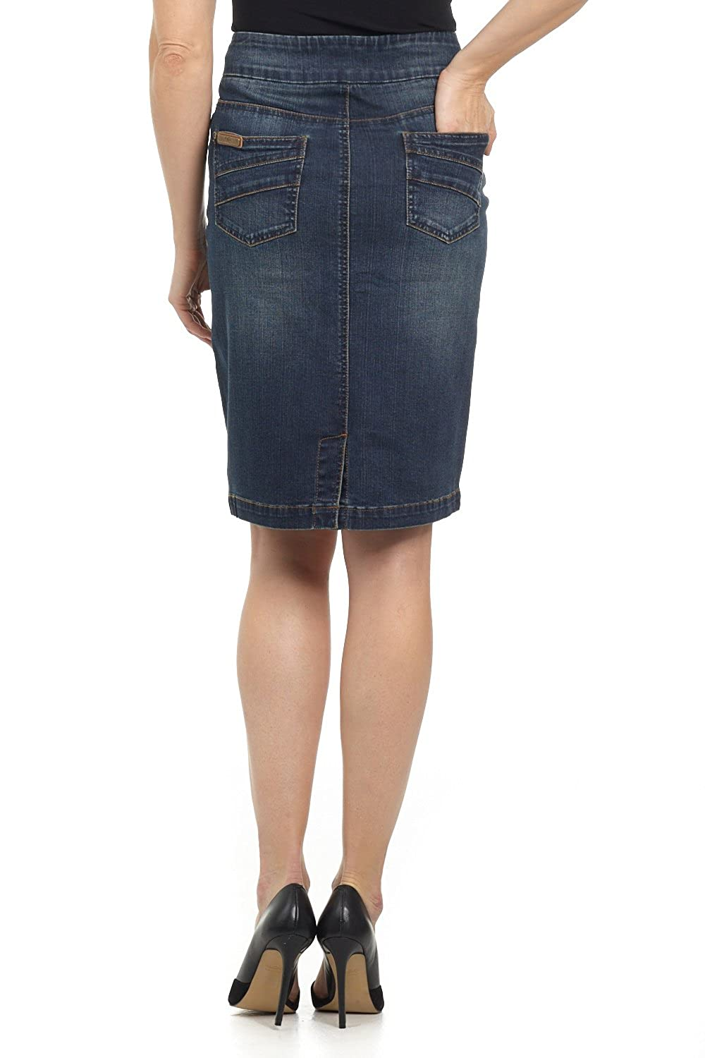 975a8135a2 Rekucci Jeans Women's Ease in to Comfort Fit Pull-on Stretch Denim Skirt at  Amazon Women's Clothing store: