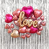 AKINGSHOP Love Letter Balloons,Heart Balloons,Silver Backdrop,Perfect for Engagements, Bridal Showers Decorations,Expression Decoration & Romantic Wedding Decorations (Love)