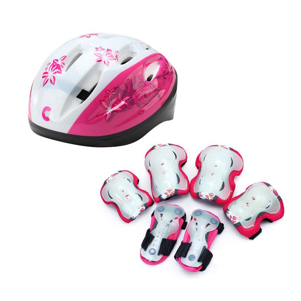 KNEE PAD XUERUI Roller Skating Bicycle BMX Skateboard Riding Child Protective Gear Safety Helmet (Color : Pink, Size : S)