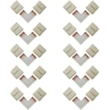 LED Strip Connector 4 Pin, Alightings L Shape Quick Splitter Right Angle Corner Clips for 10mm Width SMD 5050 LED Strip Lights, Strip to Strip Jumper