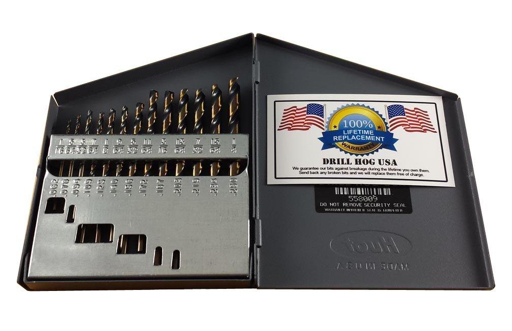 Drill Hog 13 Pc Hi-Molybdenum M7 Drill Bit Set 1/16''-1/4'' Drills USA by Drill Hog