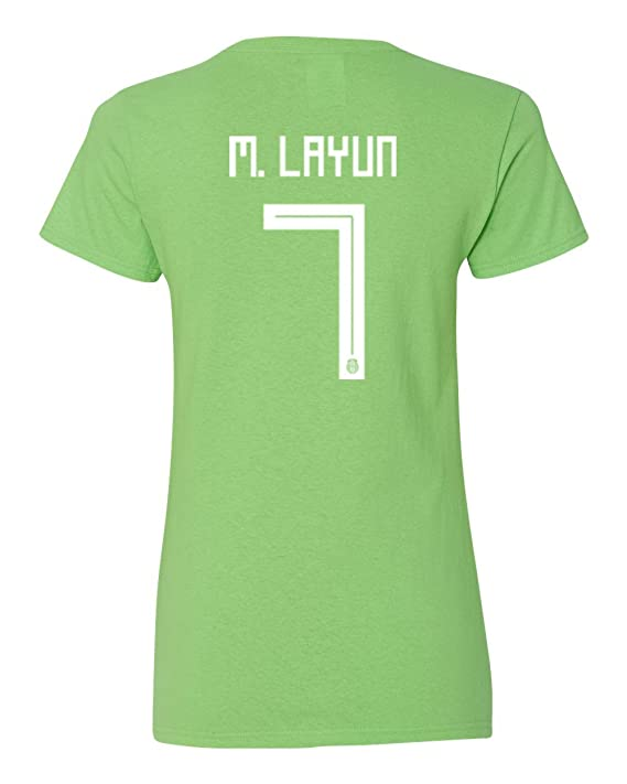 b8d94163c9c Amazon.com  Tcamp Mexico 2018 National Soccer  7 Miguel LAYUN World  Championship Women s V-Neck Tshirt  Sports   Outdoors