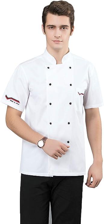XSMG Unisexo Verano Manga Corta Camisa de Cocinero Transpirable Chaquetas de Chef Cocina Restaurante Uniforme,01,XXL: Amazon.es: Deportes y aire libre