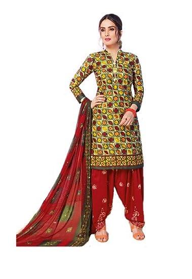 60904d6cc9 DS collection Women's Cotton Batik Print Unstitched Dress Material With Chiffon  Dupatta | Casual Wear (