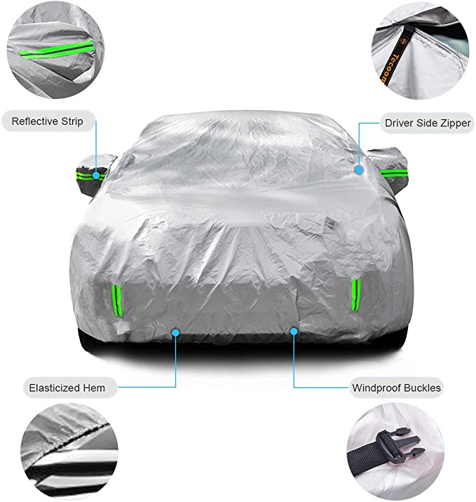 Tecoom Hard Shell Zipper Design Waterproof UV-Proof Windproof Car Cover for All Weather Indoor Outdoor Fit 221-236 inches Full-Size SUV//Van