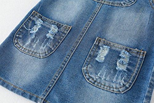Kidscool Girls 5 Round Ripped Bibs Jeans Overalls Dress,Light Blue,6-7 Years by Kidscool (Image #4)