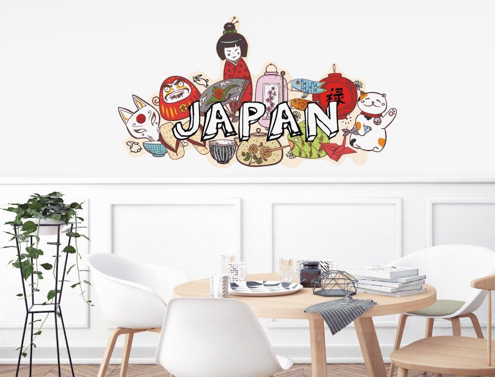 Pegatina de pared Salón Asia Letras japonesas con símbolos específicos de cada país Asia Deco para encolar China salones bordadoras alcobas ornamental ...