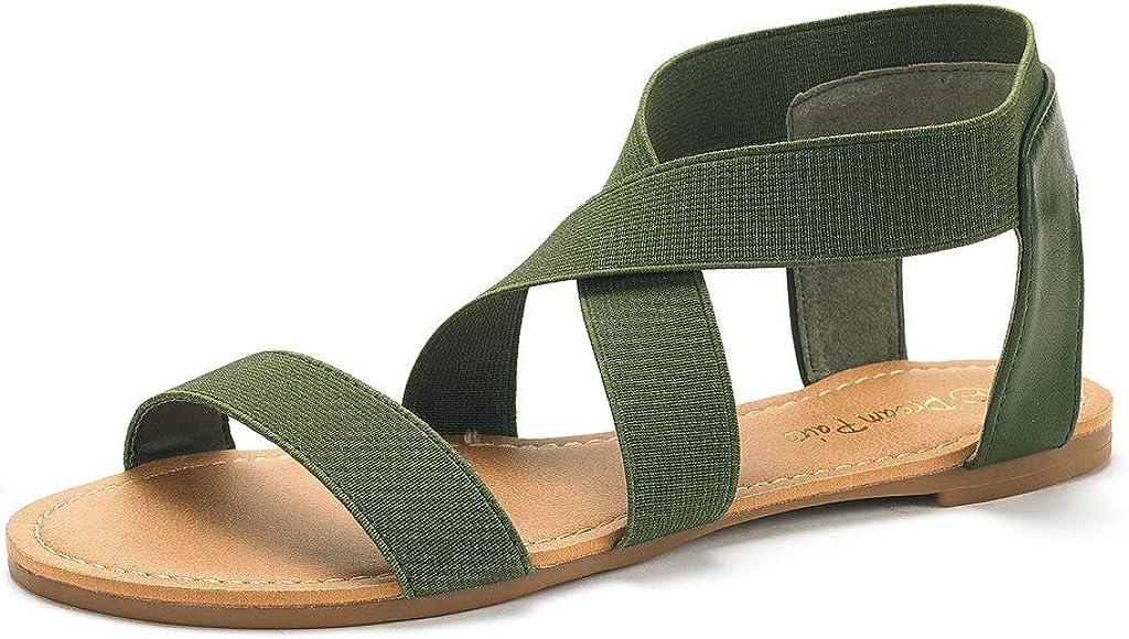 DREAM PAIRS Womens Elatica Elastic Ankle Strap Flat Sandals