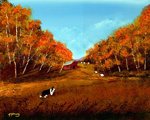 (Border Collie Dog LARGE Art print by Todd Young AUTUMN)