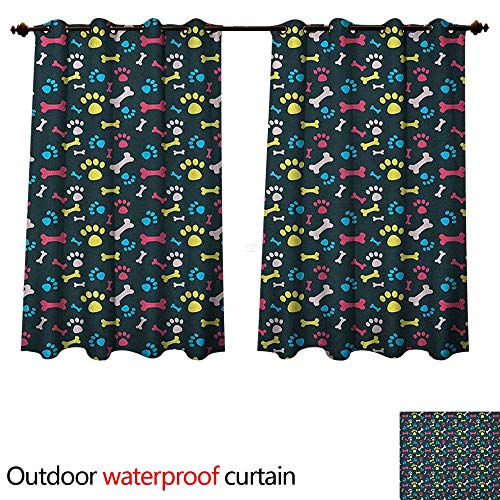 Dog Lover Outdoor Curtain for Patio Cool Canine Elements Paw Marks and Bones Ornamental Abstract Composition Image W55 x L45(140cm x ()