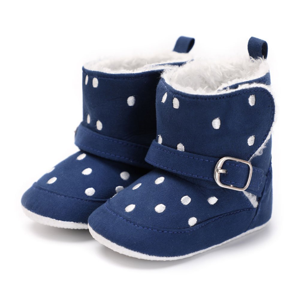 Baby Snow Boots,Woopower Newborn Toddler Dots Snow Boots Plush Crib Winter Booties Prewalker for 0-18 Months Baby (13 cm/12-18 months,khaki)