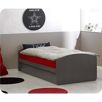 Del Paquete extensible cama Rêve taupe 90 x 200 cm, con 2 colchones