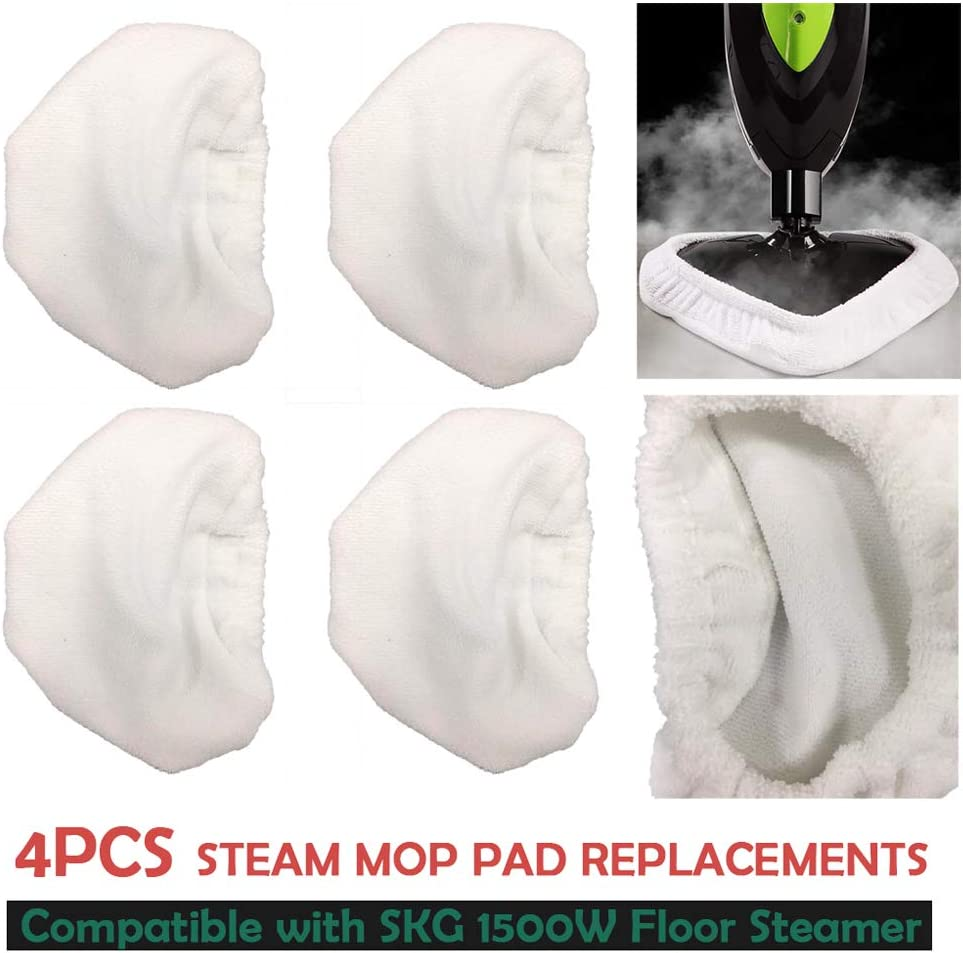 Flurries ???? 4PCS Microfiber Steam Mop Pads Compatible for SKG 1500W Mop - Reusable Washable Floor Steamer Carpet Rag - Steam Cleaner Head Cover Lid Case Accessories Consumable Tool Utility Mate