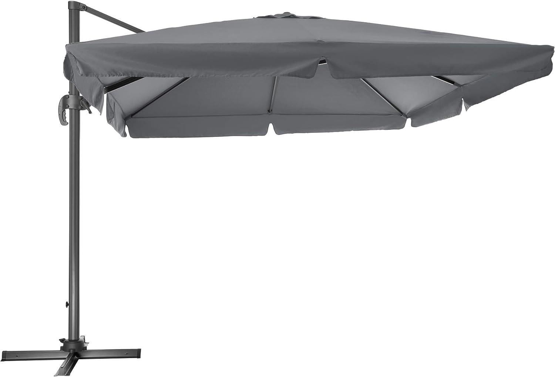 TecTake 800661 - Parasol Excéntrico, Sombrilla de Jardín, Aluminio, Protección Solar UV 50+, 3x3 m (Gris | No. 402994): Amazon.es: Jardín