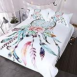 BlessLiving Big Dreamcatcher Colors Bedding, 3 Piece Dream Catcher Duvet Cover Set, Boho Doona Cover Hippie Bedspread Coverlet (King, White)