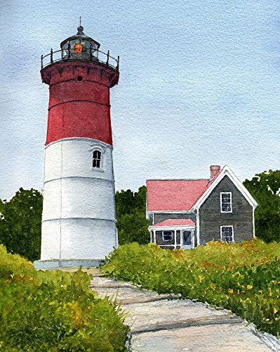 Nauset Lighthouse Eastham Cape Cod Massachusetts Matted Watercolor Art Prints (8x10) - Lighthouse Watercolor