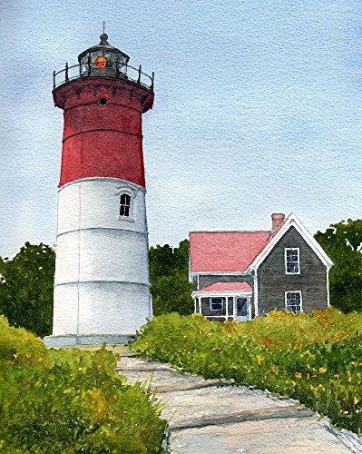 Nauset Lighthouse, Eastham, Cape Cod, Massachusetts. Matted Watercolor Art Prints (8x10) Massachusetts Lighthouse