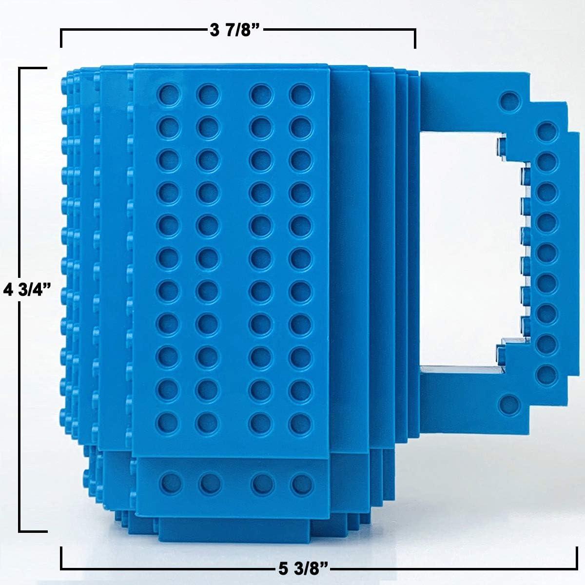 Tmango Upgraded Build-on Bricks Mug with a Pack of Blocks Novelty Puzzle Cup for Kids Creative DIY Building Blocks Coffee Mug Men or Women Xmas Birthday Gift Black