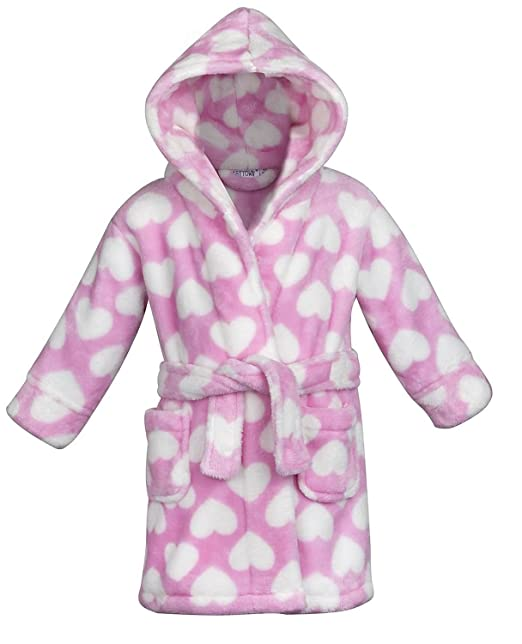Baby Town Pink Heart Girls Fleece Dressing Gown - Ages 6- - 18-24 ...