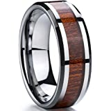 Men 8mm Silver Tungsten Carbide Wedding Engagement Ring Polished Beveled Edge Wood Inlay Band Comfort Fit