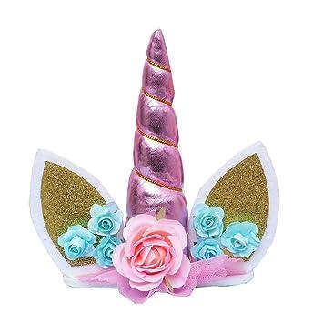 Xiton Toppers de Pastel de cumpleaños Hechos a Mano de Unicornio Set Decoración de Unicornios para Boda y Fiesta de cumpleaños (Rosado) 1pc
