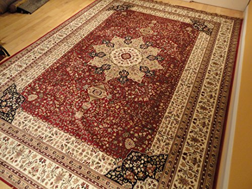 Luxury Red High Dense Silk Rugs Traditional Red Large Area Rugs 8x12 Living Rooms Rug 8x11 Dining Room Burgundy Area Rugs High End Kashan Persian Rug Pattern (Large (Beautiful Hand Woven Antique)