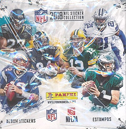 2018 Panini NFL Football Stickers MASSIVE 50 Pack Factory Sealed Box with 250 STICKERS! Look for Stickers of Top NFL Stickers Including Tom Brady, Dak Prescott, Todd Gurley, Aaron Rodgers & Many More!