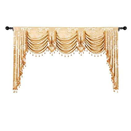 fbe7f01ebb2e53 Image Unavailable. Image not available for. Color: elkca Golden Jacquard  Waterfall Valance for Living Room Luxury Floral Curtain ...