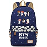 JUSTGOGO Korean Casual Backpack Daypack Laptop Bag College Bag Book Bag School Bag (Dark Blue 4)