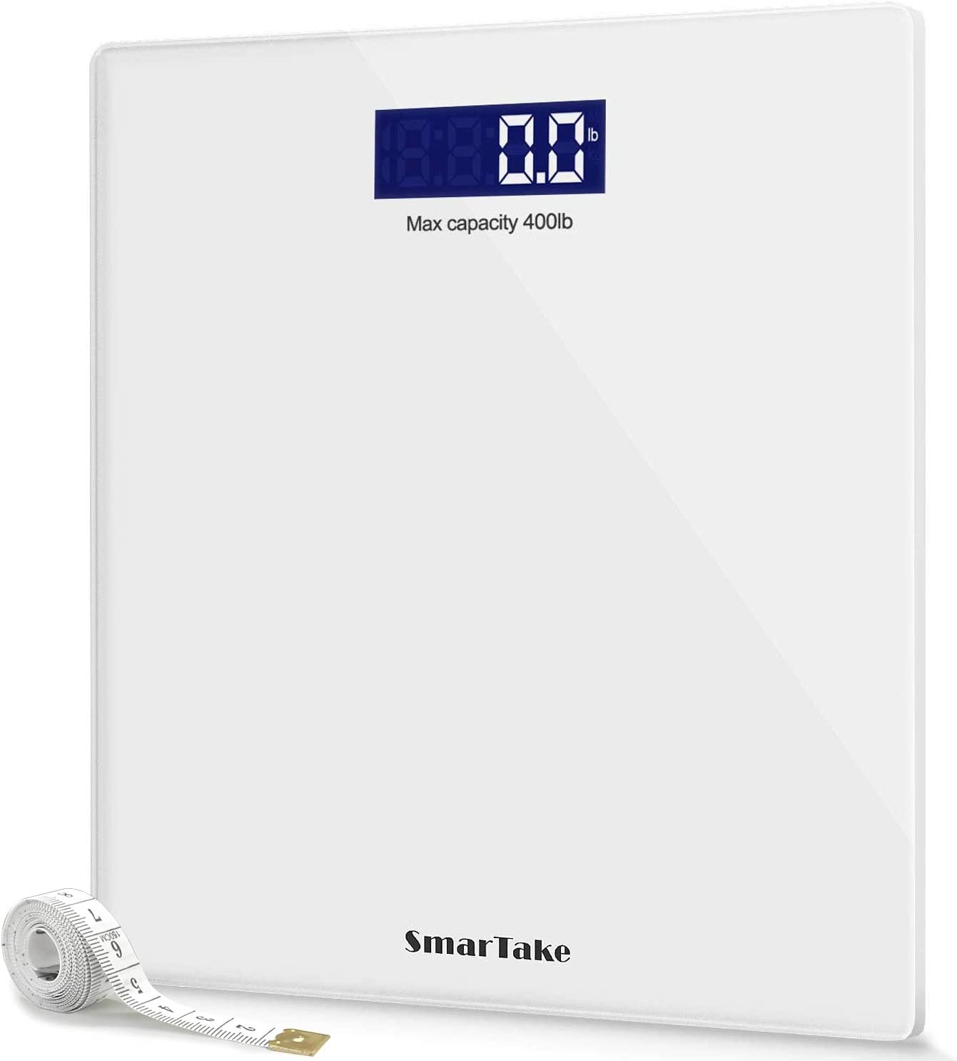 Weight Scale, SmarTake Precision Digital Body Bathroom Scale with Step-On Technology, 6mm Tempered Glass Easy Read Backlit LCD Display, Body Tape Measure Included, 400 Pounds, White